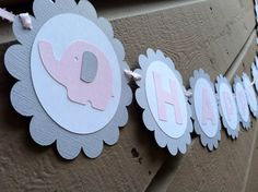 Pink and Grey Elephant Personalized Banner. Elephant Cakes, Elephant Party, Elephant Baby Showers, Happy Birthday Elephant, Birthday Ideas, Birthday Parties, Personalized Banners, Grey Elephant, Christmas Birthday