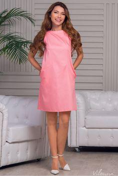 Стильна сукня з відкритими плечами просторого силуету • колір: ніжно-кораловий • інтернет магазин • vilenna.ua