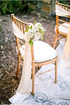 chair sash with flower garland