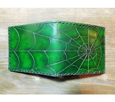 Handmade mens leather wallet with spider web carving, $75.0