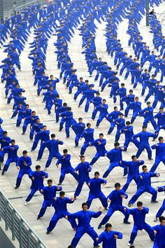 Participants perform Tai Chi during a world wide Tai Chi activity in Jiaozuo, Henan Province of China. Photo VGC
