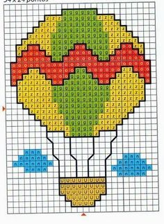 **Blog Amor Perfeito** Gráficos de ponto cruz: balões Cross Stitch Cards, Cross Stitch Baby, Cross Stitching, Cross Stitch Embroidery, Cross Stitch Patterns, Perler Bead Art, Perler Beads, Canvas Designs, Plastic Canvas Patterns
