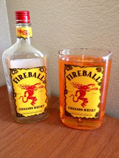 Slow burning fireball scented gel candle in original Fireball Whiskey bottle on Etsy, $23.00