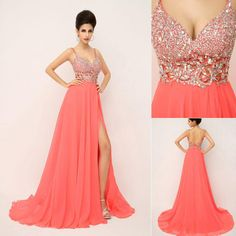 Wholesale cheap prom dresses online, 2014 fall winter - Find best sSJ 2015 new charming prom dresses With spaghetti crystals beads backless A line long coral In stock evening pageant party gowns 2014 xU015 at discount prices from Chinese prom dresses supplier on DHgate.com.