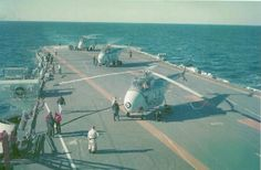 Helicopters on HMCS Bonaventure Photo by Tom Price Royal Canadian Navy, Canadian Army, Canadian History, Tom Price, Navy Aircraft Carrier, Flight Deck, Cold War, Helicopters, Wwii