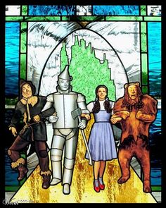 Wizard of Oz ~Stained Glass Art Wizard Of Oz Movie, Wizard Of Oz 1939, Broadway, Land Of Oz, Yellow Brick Road, Judy Garland, Wicked Witch, Emerald City, Over The Rainbow