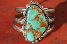 Vintage Southwestern Tribal Sterling Silver Pilot Mountain Turquoise Bracelet   eBay
