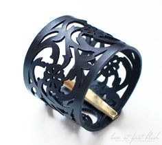 "Leather Cuff Bracelet - ""Rose Lace"" Bracelet in Black Leather"