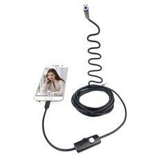 HD 7 미리메터 렌즈 하드 케이블 안드로이드 내시경 카메라 6LED 방수 USB 내시경 카메라 강성 케이블 뱀 산업용 내시경