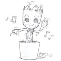 Dancing Groot by Banzchan. Anime style portraits.
