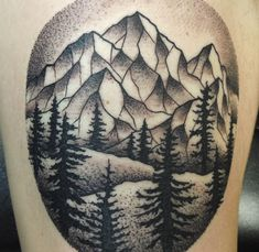 59bfe5e8bbf69 Custom mountains and trees tattoo done by Brandon Posmoga at Viking Armor  Tattoo in Marysville,