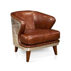 Hey ladies, not sure if you're still looking for 2 leather chairs, but check out this one.  It reminds me of the aviator chair, but is much more reasonable in scale.  Metal Back Club Chair | dotandbo.com