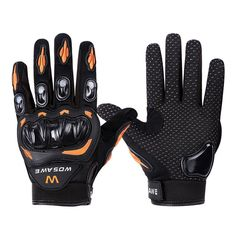 Wonzone Alloy Steel Knuckle Gloves Sport Shooting Paintball Hunting Riding Motorcycle Riding summer gloves (Black&Orange, Large). Design & Cut: 3D and seamless cut to reduce the hand rubing,more comfortable and fitness with fashion design. breathable mesh finger surfaces and thumb for cooling performance. Breathability & abrasion resistance: Durable, multi-panel main shell construction incorporating full-grain leather and 3D mesh for durability, abrasion resistance and high levels of...