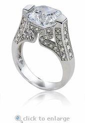5.5 carat 10mm Asscher Cut Cubic Zirconia Engagement Ring the Artistique by Ziamond.  #ziamond #cubiczirconia #asscher #channelset #engagement #ring #wedding #pave