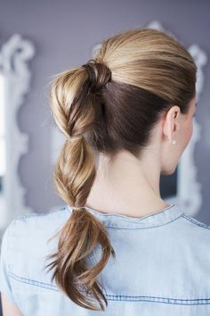 Try this pretty topsy pony tail for a fun summer hairstyle.