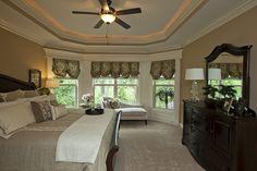 Master bedroom - bay window - minus the ceiling Dream Bedroom, Home Bedroom, Master Bedroom, Bedroom Decor, Bedroom Ideas, Master Suite, My Ideal Home, Bedroom Styles, Home Look