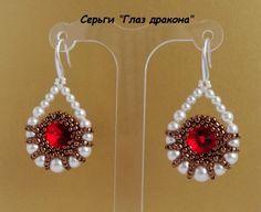 """Eye of the Tiger"" Earring scheme similar to ""Venetian Mirror"" picture tutorial Beaded Crystal Rivoli Earrings with Pearls."