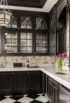 Terrat Elms Interior Design - kitchens - black and cream chinoiserie toile wallpaper, chinoiserie toile wallpaper, wallpapered backsplash, w...