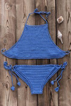 Crochet High Neck Bikini Set