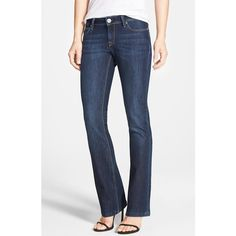 Petite DL 1961 'Cindy' Slim Bootcut Jeans (7,705 DOP) ❤ liked on Polyvore featuring jeans, petite, switch, low rise petite jeans, low rise jeans, slim jeans, slim fit bootcut jeans and dark bootcut jeans
