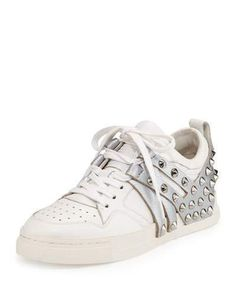 Shop Ash Extra Studded Leather Sneaker, White/antique Silver, White/antic Silve from stores. Ash Sneakers, Studded Sneakers, Metallic Sneakers, Metallic Flats, Studded Flats, Wedge Sneakers, Studded Leather, Leather Sneakers, Leather Trainers