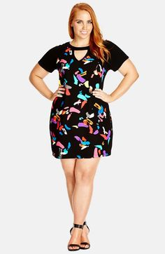 56e1cff72d7ce City Chic  Graffiti Girl  Short Sleeve Dress (Plus Size) available at