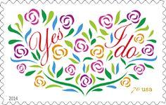 USPS Yes I Do Stamp 2014, Wedding Stamp, Love Stamp