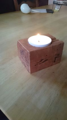 Made a candle holder from a block that was left over from a pallet
