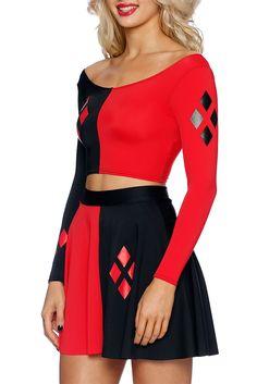 Harley Quinn Long Sleeve Crop (AU $55.00) by Black Milk Clothing