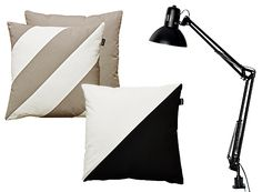 Viisto and Vino pillows, forme.fi. A classic desklamp, Ellos.