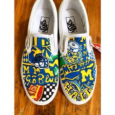 97d431db35 How cool are these customized  UMich vans  College Shoes