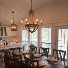 Phifer 6 - Light Candle Style Empire Chandelier with Wood Accents Farmhouse Dining Room Lighting, Farmhouse Kitchen Lighting, Farmhouse Light Fixtures, Dining Room Light Fixtures, Kitchen Chandelier, Farmhouse Chandelier, Wood Chandelier, Dining Lighting, Kitchen Lighting Fixtures
