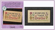 This listing is for a NEW cross stitch pattern:  Be Your Own Kind of Beautiful by Lizzie Kate  Stitch Count: 89 x 41  PLEASE NOTE: This listing is for the cross stitch pattern only - not the finished cross stitch - and the threads and fabric are sold separately. It is a NEW pattern and in PRISTINE condition. INTERNATIONAL BUYERS: The shipping listed is a guideline - If you are interested in purchasing this pattern, please send me a message with your shipping information and I can give you an…