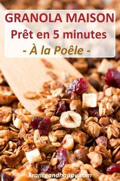 -A TOMBER- Granola maison a faire en 5 minutes a la poêle ! -A TOMBER- Granola house to do in 5 minutes in the pan! Healthy Cereal, Healthy Snacks, Healthy Eating, Healthy Recipes, Healthy Breakfasts, Clean Eating, Protein Shake Diet, Protein Smoothies, Fruit Smoothies