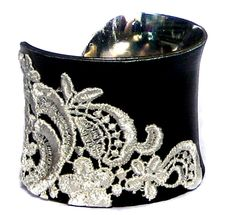 OOAK White Lace and Black Leather Cuff Bracelet by by UNEARTHED, $65.00