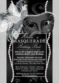 Masquerade Party Invitation Mardi Gras Party Party by BellaLuElla Masquerade Party Invitations, Masquerade Ball Party, Sweet 16 Masquerade, Masquerade Wedding, Masquerade Theme, Masquerade Cakes, 30th Birthday Parties, 60th Birthday, Mardi Gras Party