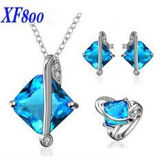 XF800 Brand 925 silver bridal jewelry set ,Sapphire Gemstone Ring wedding gift for women R11