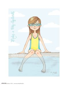 Summertime Girl Wall Art Print Swimmer Girl at the by KristyZink, $24.00