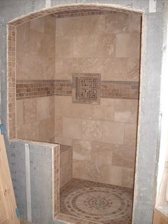 Love the shower floor. My next tiled shower i want this on the floor. Rustic Bathroom Designs, Rustic Bathrooms, Chic Bathrooms, Master Bathrooms, Travertine Shower, Tuscan Bathroom, Master Bath Remodel, Shower Remodel, Beautiful Bathrooms