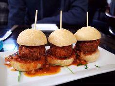 Meatball sliders~ soooooo gooood~ | Yelp Meatball Sliders, Black Italians, Little Owl, Hamburger, Nyc, Play, Ethnic Recipes, Food, Essen