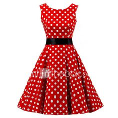Women's Going out Vintage / Cute A Line / Skater Dress,Polka Dot Round Neck Knee-length Sleeveless Red Cotton Spring / Summer High Rise Women's A Line Dresses, Pin Up Dresses, Types Of Dresses, Knee Length Dresses, Women's Dresses, Dresses 2016, Robe Swing, Swing Dress, Vestidos Pin Up