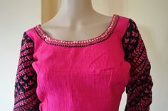 Full sleeves designer work blouse in shocking pink and black combination