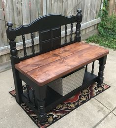 20 Wooden DIY Twin Headboard Bench Designs For Outdoor Refurbished Furniture, Repurposed Furniture, Furniture Makeover, Painted Furniture, Furniture Projects, Diy Furniture, Furniture Websites, Furniture Removal, Furniture Stores