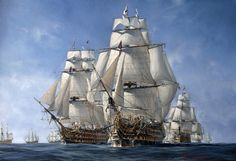 Battleships HMS Victory, HMS Temeraire, and HMS Neptune at the 1805 Battle of Trafalgar, painting by Richard Grenville.