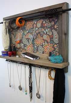 I could really use this Jewelry Organizer Shelf- Jewelry Holder Barnwood - Boho Brown Floral Pattern - Shelf - Jewelry Holder