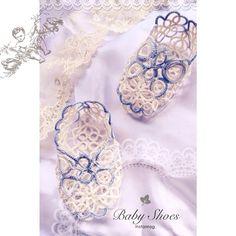 """""""生まれたての赤ちゃんに贈る ベビーシューズです ✳︎ 健やかな成長を願い、心を込めて編みました 海外のフリーパターン使用 タティングレースのベビーシューズ tattinglace"""