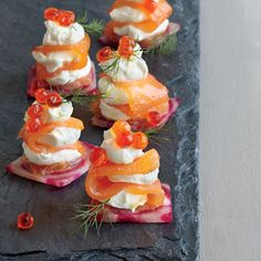 If you're looking for an appetizer that will delight your guests with its gorgeous presentation and rich, delicious taste, the search stops here. These beautiful canapés start with a base of candy ...