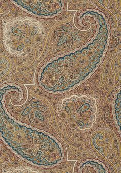 SHERRILL PAISLEY, Teal and Beige, T85076, Collection Greenwood from Thibaut