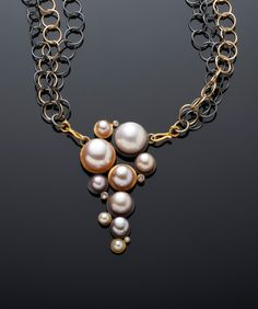 "Necklace | Margaret Dittrich. ""Cascading Pearls""."