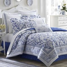 Laura Ashley Charlotte Blue & White Queen Size 4 PC Floral Cotton Comforter Set #LauraAshley #ClassicDesignerFrenchCountryShabbyChicTr